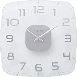 NEXTIME Unek Goods Classy, Square Wall Clock, Decorative, Big Numbers, Clear Glass, Battery Operated, Shiny Numbers