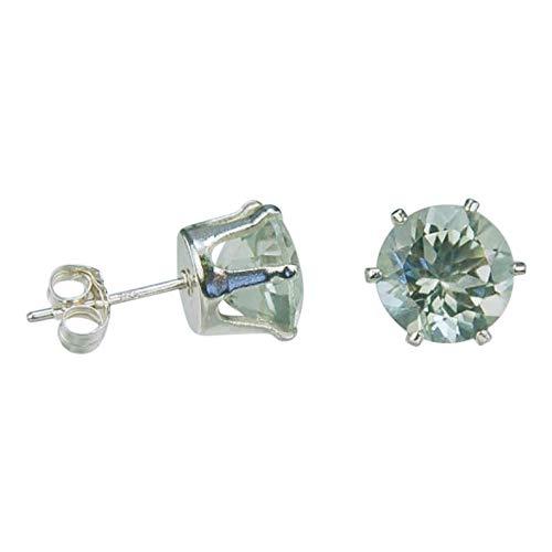 Green Amethyst set in sterling silver gold plated earrings