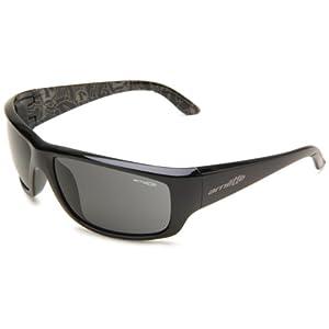 Arnette Men's Cheat Sheet AN4166-04 Wrap Sunglasses,Gloss Black Frame/Grey Lens,One Size