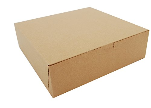 Southern Champion Tray 0971K Kraft Paperboard Non Window Lock Corner Bakery Box, 10'' Length x 10'' Width x 3'' Height (Case of 200) by Southern Champion Tray