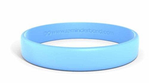 Reminderband Classic Custom Silicone Wristband/Personalized Silicone Bracelet/Rubber Bracelet (Light Blue, Large) ()