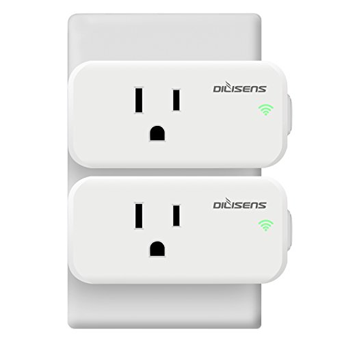 Smart Plug Mini Outlet, DILISENS Smart Socket Outlet Switch Compatible with Alexa Echo/Google Home, No Hub Required, Wi-Fi App Control, Max 15A Working Current, White (2 PACK)