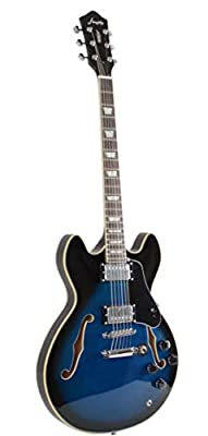 Full Size Hollow body Electric Guitar with Cable and Picks (Blue Burst)