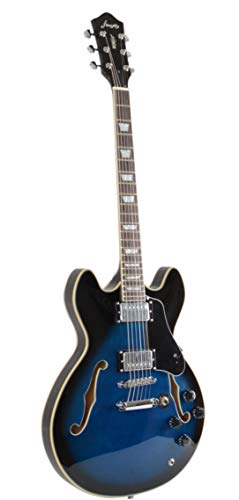 Full Size Hollow body Electric Guitar with Cable, and Picks (Blue Burst)