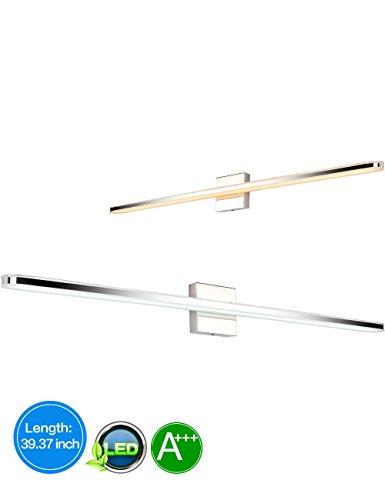 LED 39.4 inch Bathroom Vanity Lighting Fixtures Stainless Steel Bath Mirror Lamps Wall (4 Lamp Vanity Lighting)