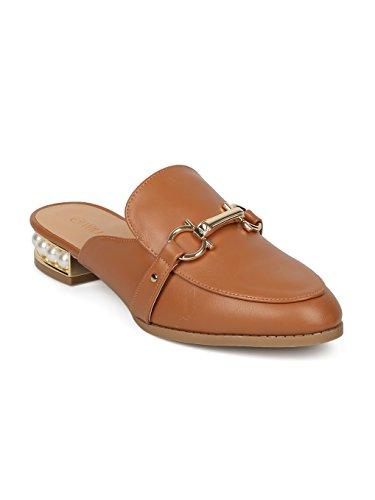 Alrisco Women Leatherette Horsebit Faux Pearl Loafer Mule HF83 - Whiskey (Size: 9.0) by Alrisco