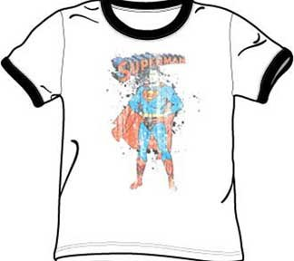 Superman Vintage Ink (Superman VINTAGE INK SPLATTER Adult White/Black Ringer T-shirt Tee Shirt, Large)