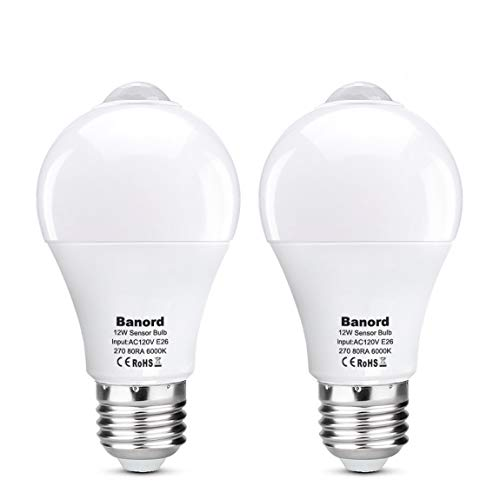 - Motion Sensor Light Bulbs, PIR Motion LED Light, E26 Base 1000lm Cold White, A19 Daylight Bulbs, Auto On Off Indoor LED Bulb, 2 Pack by Banord
