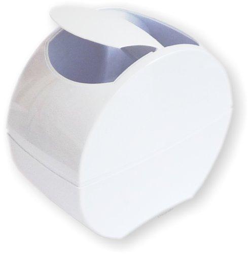 Designer Tisch-Abfallbehälter weiss mit praktischem Klappdeckel - selbstschliessend - Tischabfalleimer