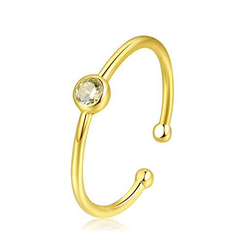 espere Sterling Silver Birthstone Stacking Ring Dainty Birthstone Rings Open Adjustable [August - - Center Zirconia Cubic Stone Peridot