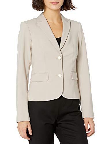 Calvin Klein Women's Two Button Lux Blazer (Standard & Petite Sizes), Khaki, 10