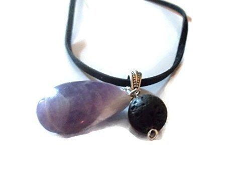 Amethyst Gemstone Necklace Lava Rock Aromatherapy Essential Oil Diffuser Pendant Spiritual Crystal Jewelry
