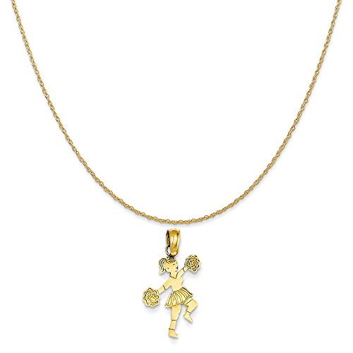 Mireval 14k Yellow Gold Cheerleader with Pom-Poms Pendant on 14K Yellow Gold Rope Chain Necklace, -