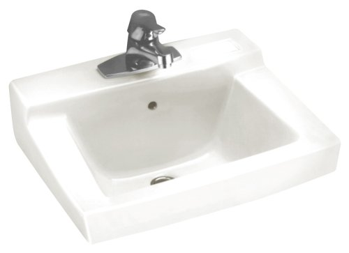 American Standard 0321.075.020 Declyn Vitreous China Wall-Mount Lavatory Sink with Concealed Arm Support and Faucet Holes on 4-Inch Centers, White