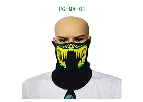 Halloween Luminous Mask Sound Reactive Lighting Flashing Masks for Halloween Party,A,A -