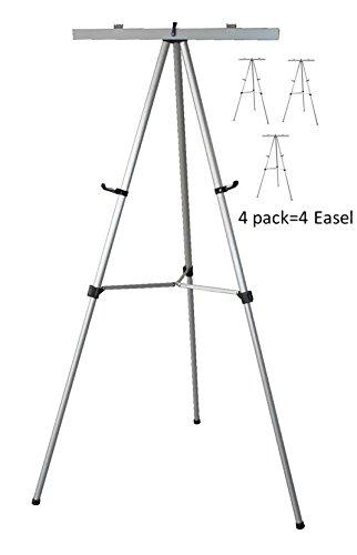 (Lightweight Aluminum Flip-Chart Presentation Easel, Silver (4 Pack))