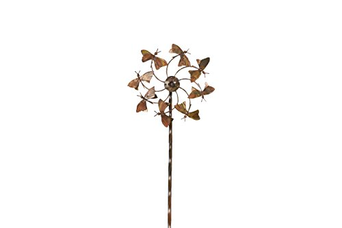 Ancient Graffiti Flamed Butterfly Spinner Stake, 9.5 by 40 by 9.5-Inch