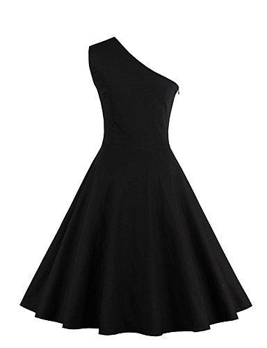 Sólida Funda Mangas Mujer Línea La Negro Camiseta Vestido Hombro De De Un Solo Vestido Sin JIALE3536 Partido Una wXF818
