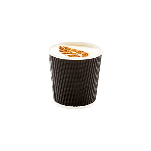 500-CT Disposable Black 4-OZ Hot Beverage Cups with Ripple Wall Design: No Need for Sleeves – Perfect for Cafes – Eco-Friendly Recyclable Paper – Insulated – Wholesale Takeout Coffee Cup