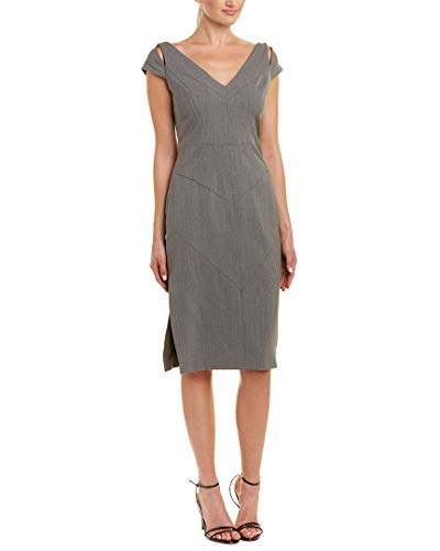 Wool-Blend Sheath Midi Dress, 6, Grey ()