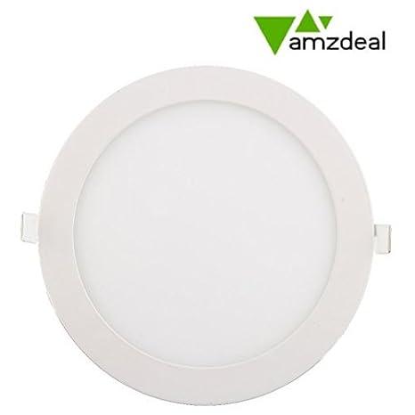 Amzdeal 18 W LED empotrada Panel de techo abajo luz, Round (Warm White)
