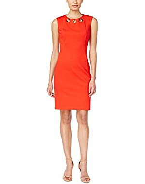 Calvin Klein Womens Scuba Grommet Bodycon Dress