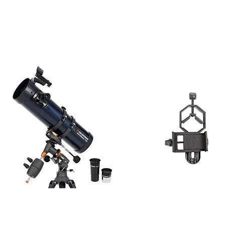 Celestron 31045 AstroMaster 130 EQ Reflector Telescope with Basic Smartphone Adapter 1.25'' Capture Your Discoveries by Celestron
