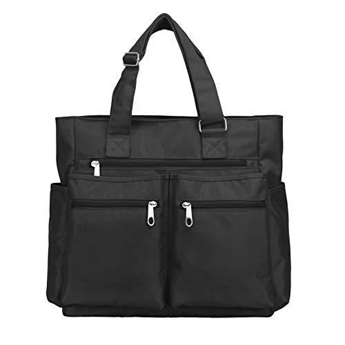 Waterproof Nylon Oxford Large Tote Bags Multi-pocket Fashion Travel Laptop Work Purse for Women & Men ()