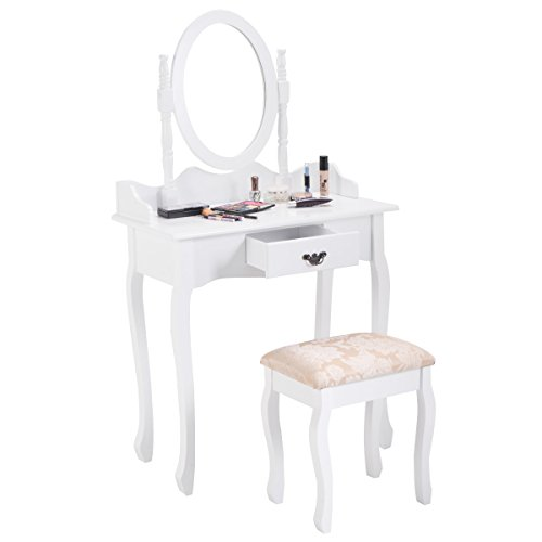 Giantex Vanity Makeup Table Set Girls Chic Modern Style with Glass Mirror Drawer Ladies Large Make Vanity Dressing Table for Women w/Cushioned Stool Bench (White) by Giantex