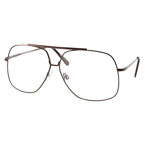 XL Mens Aviator Clear Lens Eye Glasses Square Fashion Oversized 62mm, - Xl Eyeglasses Prescription