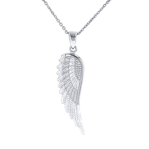 Solid 14k White Gold Textured Angel Wing Charm Pendant Necklace, 22