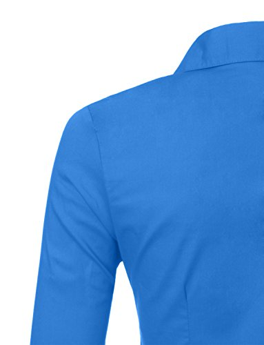 151d9a91 ... LE3NO Womens Roll Up 3/4 Sleeve Button Down Shirt with Stretch,  L3NWT574A_PERRYBLUE, ...