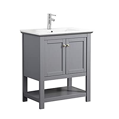 """Fresca Manchester 30"""" Gray Traditional Bathroom Vanity - Dimensions of Vanity: 29.5""""W x 18""""D x 34""""H Vanity Materials: Solid Wood Frame with MDF Panels Countertop/Sink Materials: Integrated Ceramic Sink - bathroom-vanities, bathroom-fixtures-hardware, bathroom - 31sCCLrfjXL. SS400  -"""