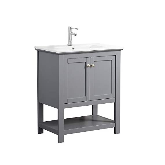 """Fresca Manchester 30"""" Gray Traditional Bathroom Vanity - Dimensions of Vanity: 29.5""""W x 18""""D x 34""""H Vanity Materials: Solid Wood Frame with MDF Panels Countertop/Sink Materials: Integrated Ceramic Sink - bathroom-vanities, bathroom-fixtures-hardware, bathroom - 31sCCLrfjXL. SS570  -"""
