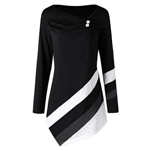 Sunhusing Womens Long Sleeve Button Buckle Stripe Blouse Asymmetrical Hem Long Tunic Top Black]()