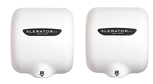 Excel Dryer XLERATOReco XL-BW-ECO 1.1N High Speed Automatic Hand Dryer, White Thermoset (BMC) Cover, GreenSpec Listed and LEED Credits with Noise Reduction Nozzle,110/120V 500 Watts (Pack of 2) by XLERATOR