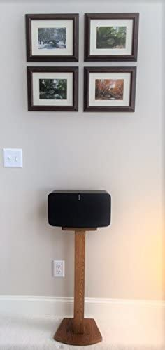 Beautiful Wood Speaker Stand Handcrafted for SONOS Play 5 2nd Generation Made in U.S.A. Single Stand. Oak Color.
