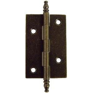 HB-59AB ANTIQUE BRASS BUTT HINGE WITH FINIALS - 2