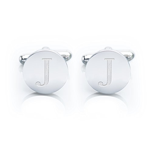 Men's 18K White Gold-Plated Engraved Initial Cufflinks with Gift Box– Premium Quality Personalized Alphabet Letter (J - White (Engraved Personalized Cufflinks)