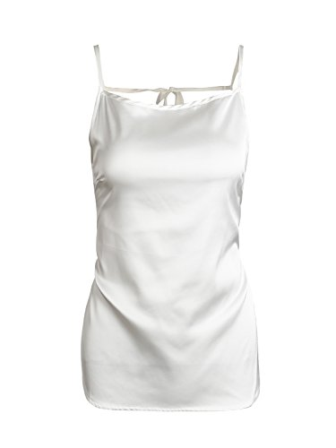 Simplee Apparel Women 's Plain Satin camisole Top sin espalda Correa Chaleco Blanco