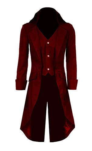 Qipao Mens Gothic Tailcoat Jacket Steampunk Victorian Coat Halloween Cosplay Costume Party Uniform (XL, Dark Red)
