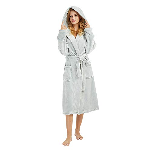 M&M Mymoon Womens Hooded Fleece Robes Plush Comfy Soft Warm (Light Grey, S/M)