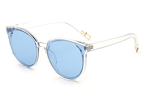 GAMT Round Cat Eye Designer Women Sunglasses Oversized Clear Lens Blue - Glass Frames Latest Eye