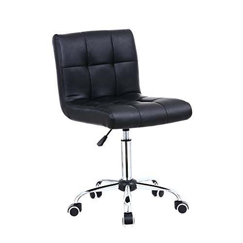 KKTONER Black PU Leather Office Chair with Mid Back Swivel Height Adjustable Computer Desk Chair