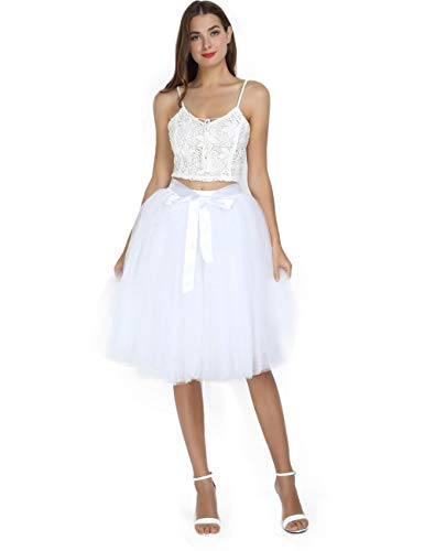 Women's High Waist Pleated Princess A Line Midi/Knee Length Tutu Tulle Skirt for Prom Party (Free Size, White) -