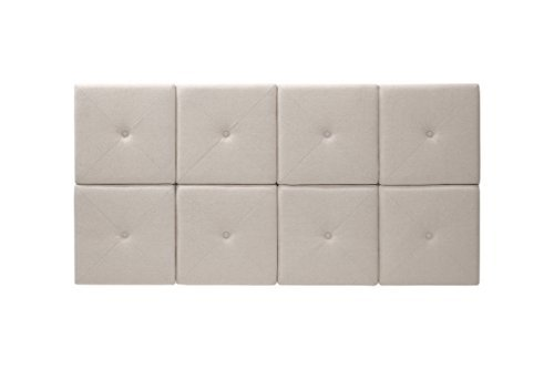 Foremost THT-61013-FB-LIN-FQ 62 31-Inch Natural Linen with X Seam and Tuft Headboard Tiles, Queen, 31 inches