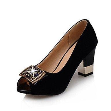 LvYuan Mujer-Tacón Robusto-Zapatos del club-Sandalias-Oficina y Trabajo Vestido Fiesta y Noche-Terciopelo-Negro Azul Black