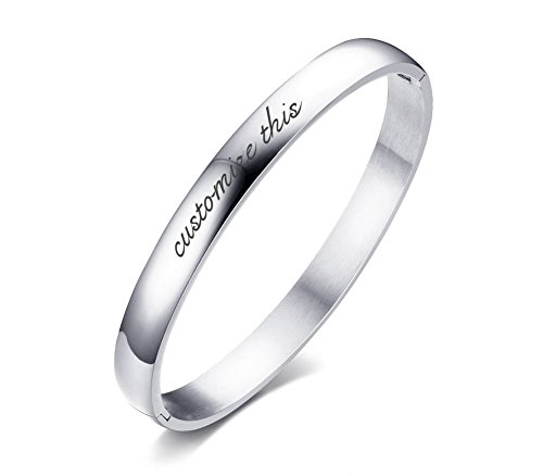 Mealguet Jewelry Free-Engraving Stainless Steel Domed Polished Plain Hinged Bangle Bracelets for Men Women Personalized (Stainless Steel Hinged Bangle)