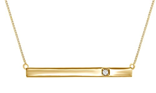 - Jewel Zone US Natural Diamond Bar Pendant Necklace 14k Yellow Gold Over Sterling Silver