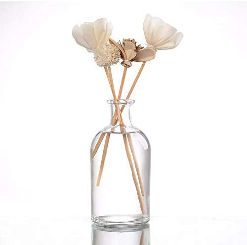casa-vetro Botella de Cristal Juego de 6 o 12 jarrones peque/ños dise/ño de Flores 6 Unidades Vidrio Boda Fiesta Blanco para decoraci/ón de Mesa Transparente